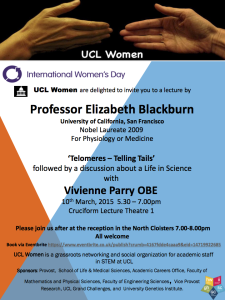 Poster advertising ElizabethBlackburn